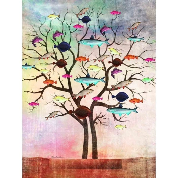 """Fish Tree"" by Mark Ashkenazi, Canvas Giclee Wall Art"