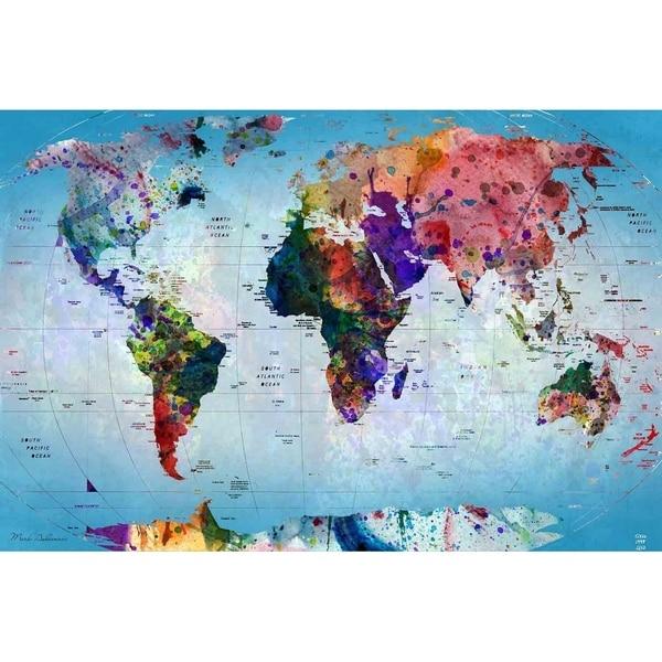 Shop world map iv by mark ashkenazi canvas giclee wall art free world map iv by mark ashkenazi canvas giclee wall art gumiabroncs Image collections