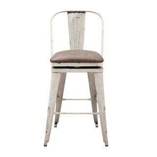 Distressed Antique Metal Swivel Barstool (2 options available)