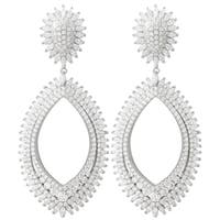 Luxiro Sterling Silver White Cubic Zirconia Dangle Earrings