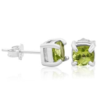 1 1/2 Carat TGW Cushion Cut Peridot Stud Earrings In Sterling Silver - Green
