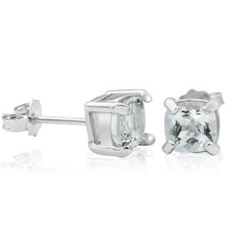 1 1/5 Carat TGW Cushion Cut Aquamarine Stud Earrings In Sterling Silver - Blue