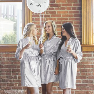 Personalized Luxury Satin Robe, Silver (Small-Medium) (More options available)