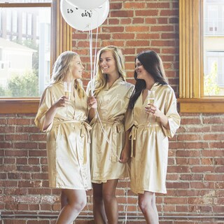 Personalized Luxury Satin Robe, Gold (Small-Medium) (More options available)