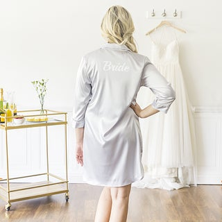 Bride Silver Satin Night Shirt