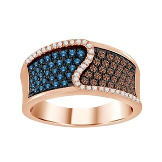 10k Women's 3/4ct tw rose gold enhanced blue and natural brown diamond pave fashion band.