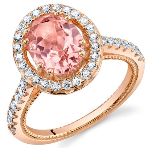 Oravo Simulated Morganite Rose-Tone Sterling Silver Halo Ring