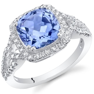 Oravo Simulated Tanzanite Sterling Silver Cushion Halo Ring