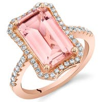 Oravo Simulated Morganite Rose-Tone Sterling Silver Octagon Ring