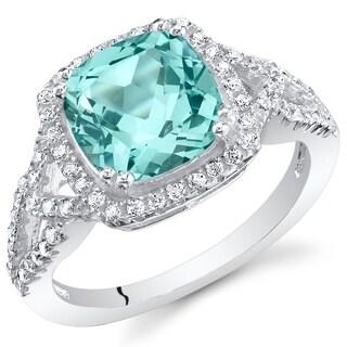 Oravo Simulated Paraiba Tourmaline Sterling Silver Cushion Halo Ring
