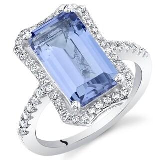 Oravo Simulated Tanzanite Sterling Silver Octagon Ring