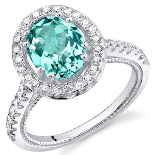 Oravo Simulated Paraiba Tourmaline Sterling Silver Halo Ring