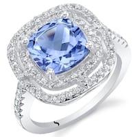 Oravo Simulated Tanzanite Sterling Silver Double Halo Ring