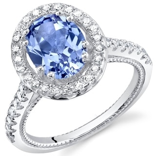 Oravo Simulated Tanzanite Sterling Silver Halo Ring
