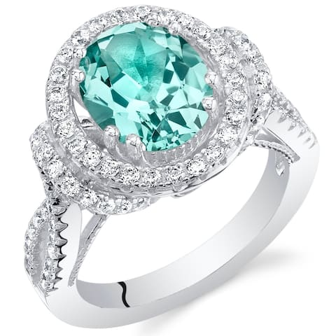 Oravo Simulated Paraiba Tourmaline Sterling Silver Oval Allure Ring