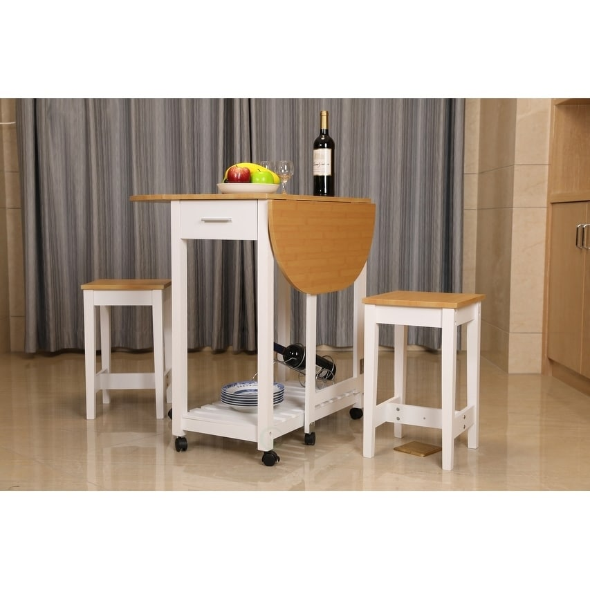 Kings Brand Furniture 3 Piece Kitchen Island Breakfast Bar Set Drop Down Table 2 Stools Table Chair Sets Zuiverlucht Home Kitchen