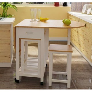 3 Piece Kitchen Island Breakfast Bar Set with casters, Drop Down Island table with 2 Stools