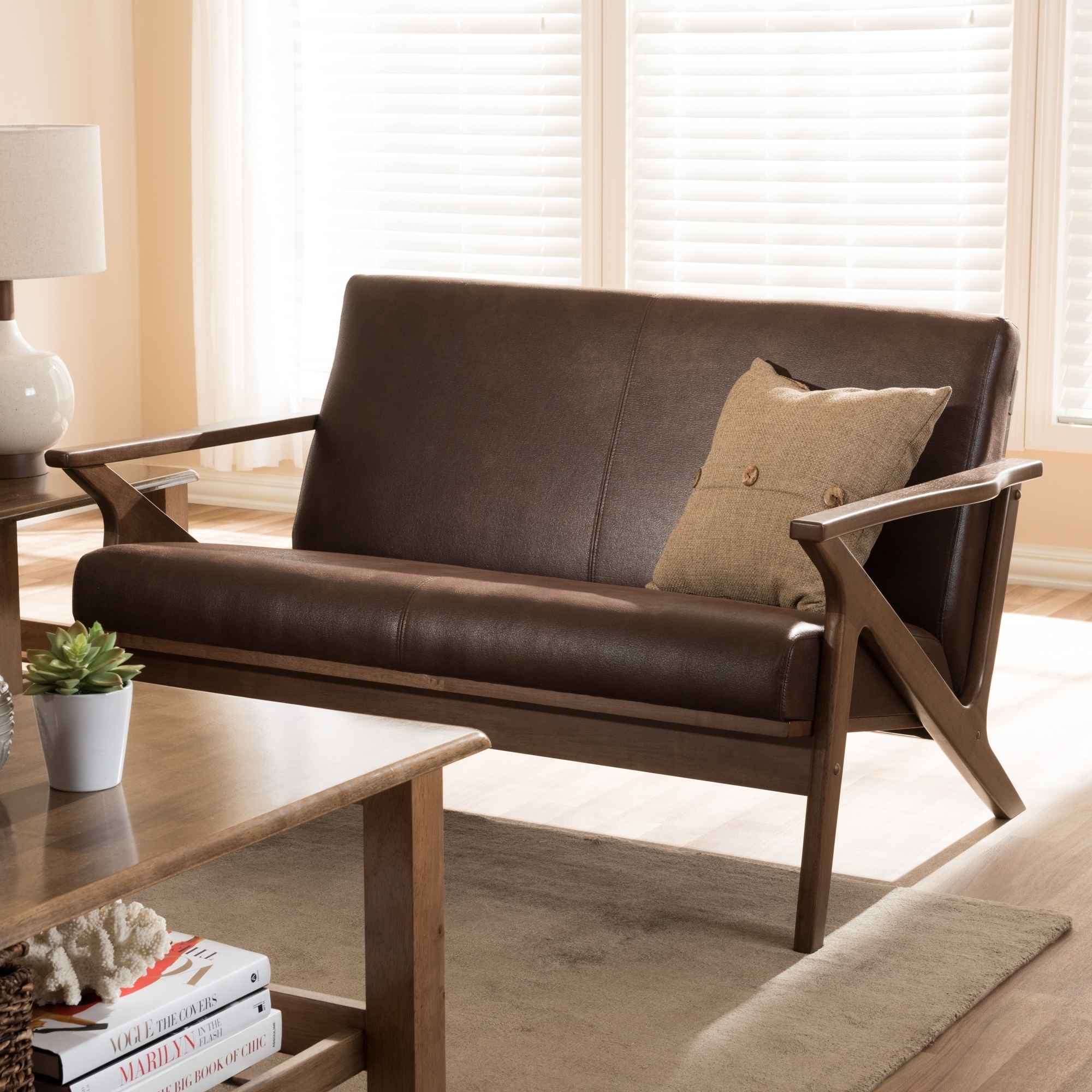 Amazing Details About Mid Century Loveseat By Baxton Studio Creativecarmelina Interior Chair Design Creativecarmelinacom