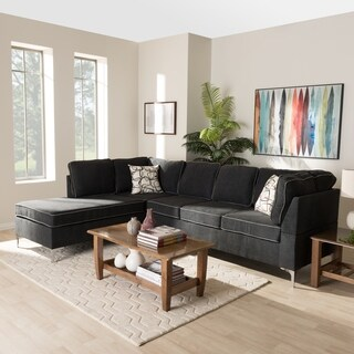 Contemporary Two-Tone Grey Fabric Sectional Sofa by Baxton Studio