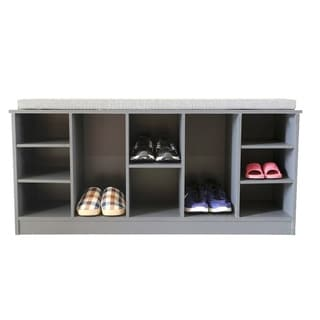 Wooden Soft-cushioned Entryway Bench Shoe Storage Cubicle