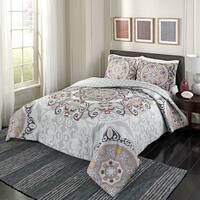 Marble Hill Regal Rosette Reversible 3 Piece Comforter Set