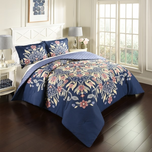 Marble Hill Floral Fantasy Reversible 3-Piece Comforter Set - Multi