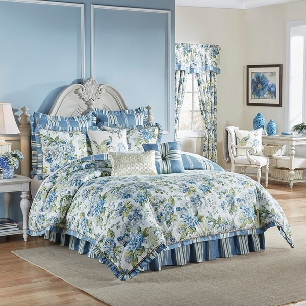 Waverly Floral Engagement 4 Piece Bedding Collection - Porcelain