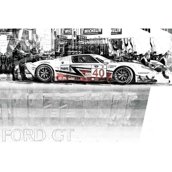 """Ford GT"" by Mike Calascibetta, Canvas Giclee Wall Art"