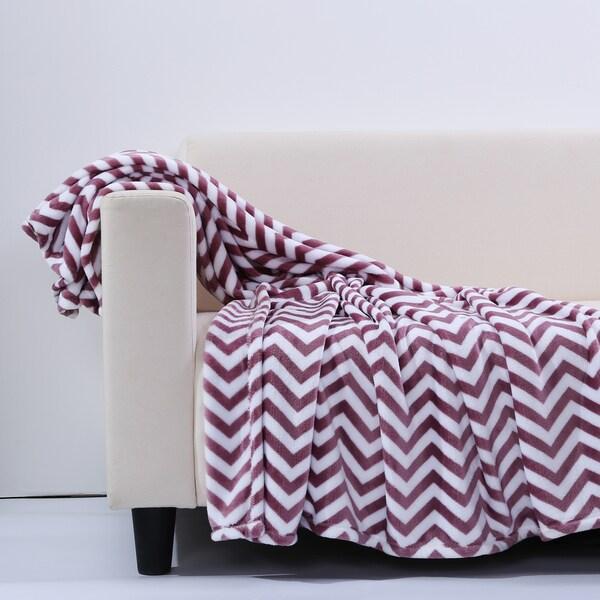 Berkshire Blanket Velvety Plush Zig Zag Chevron Throw Blanket