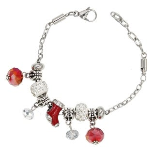 "BeSheek Jewelry ""Christmas Stocking"" Stainless Steel European-Style Interchangeable Charm Bead Fashion Bracelet"