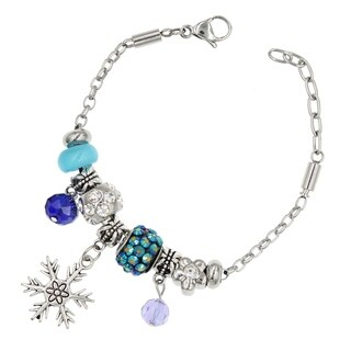 "BeSheek Jewelry ""Blue Frozen Snowflake"" Stainless Steel European-Style Interchangeable Charm Bead Fashion Bracelet"