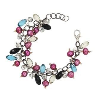 "BeSheek Jewelry ""Freshwater Briolette"" Crystal and Pearl Dangle Fashion Bracelet"