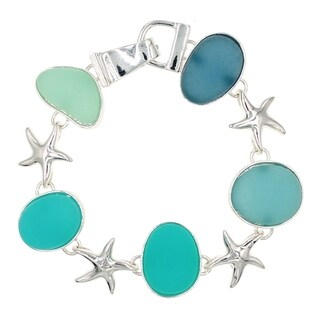 "BeSheek Jewelry ""Seaglass Starfish"" Silvertone Cabochon Magnetic Clasp Fashion Bracelet"