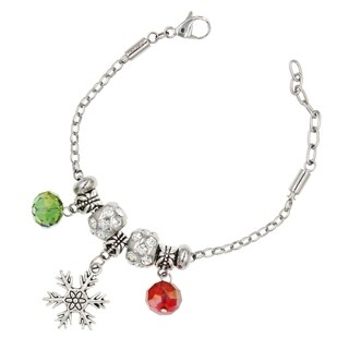 "BeSheek Jewelry ""Christmas Snowflake"" Stainless Steel European-Style Interchangeable Charm Bead Fashion Bracelet"