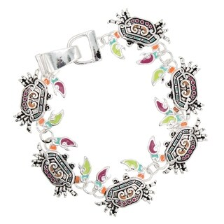 BeSheek Jewelry Rainbow Mosaic Ocean Crab Fashion Magnetic Clasp Bracelet