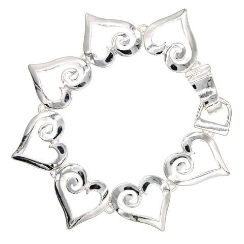 Handmade Silvertone Open Heart Bracelet