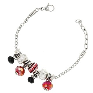 "BeSheek Jewelry ""Red and Black Allure"" Stainless Steel European-Style Interchangeable Charm Bead Fashion Bracelet"