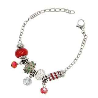 "BeSheek Jewelry ""Glittering Red Candy Cane"" Stainless Steel European-Style Interchangeable Charm Bead Fashion Bracelet"