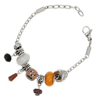 "BeSheek Jewelry ""Pumpkin Pie"" Stainless Steel European-Style Interchangeable Charm Bead Fashion Bracelet"