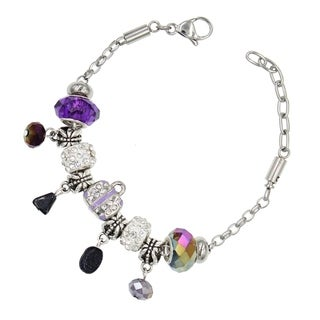 "BeSheek Jewelry ""Purple Moonstone"" Stainless Steel European-Style Interchangeable Charm Bead Fashion Bracelet"