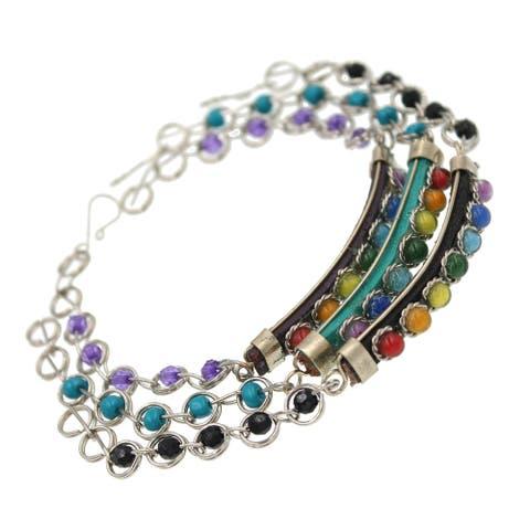 Handmade Chakra Gemstone Leather Beaded Bracelet