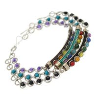 BeSheek Jewelry Chakra Gemstone Leather Beaded Fashion Bracelet