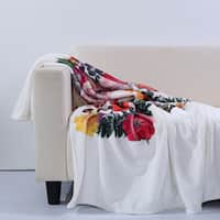 Brooklyn Industries - Eco-Friendly Recycled Polyester Flower Skull Throw Blanket