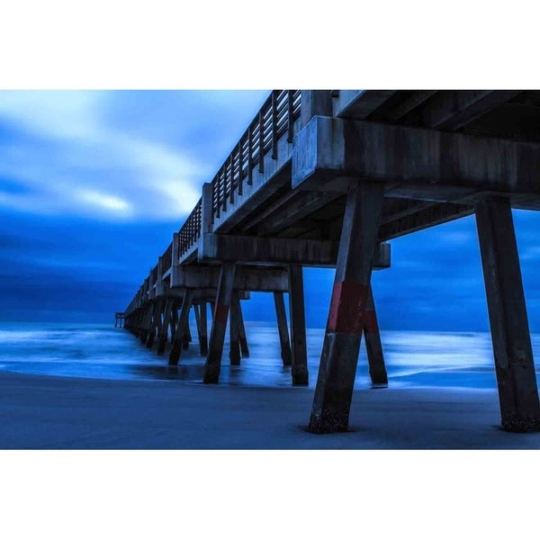 """Pier at sunrise in blue"" by Glenn Martin, Canvas Giclee Wall Art Print"