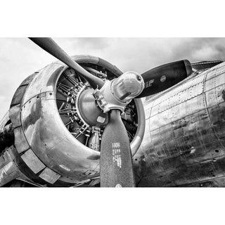 """B-17 Flying Fortress engine in black & white"" by Glenn Martin, Canvas Giclee Wall Art Print"