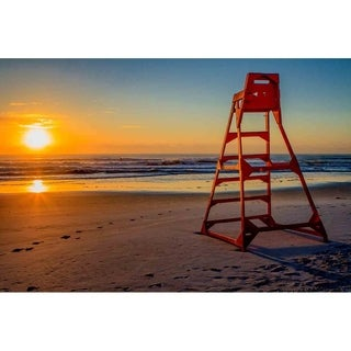 """Lifeguard stand at Sunrise"" by Glenn Martin, Canvas Giclee Wall Art Print"