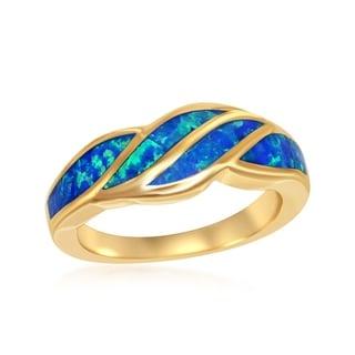 La Preciosa Sterling Silver High Polish Gold Plated Blue Opal Wave Design Ring