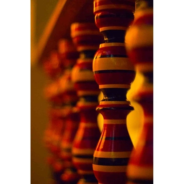 """""""Wooden Hand Railing - Temple of the Tooth"""" by Isuru Wak, Giclee Canvas Wall Art"""