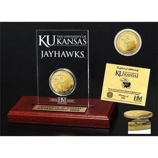 University of Kansas Basketball 3-Time National Champions Gold Coin Etched Acrylic - Multi-color