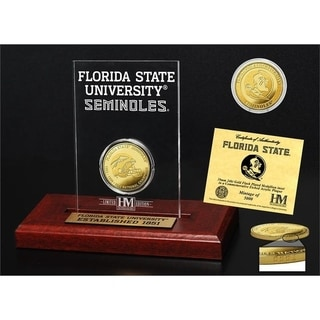 Florida State University 3-Time national Champions Gold Coin Etched Acrylic - Multi-color